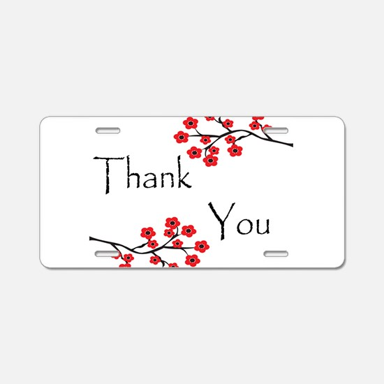 Red Cherry Blossoms Thank You.jpg Aluminum License