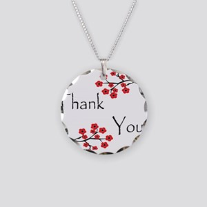 Red Cherry Blossoms Thank You Necklace Circle