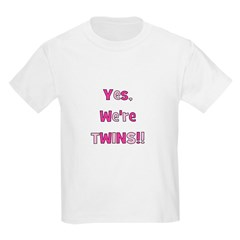 Yes, We're Twins - Pink & Pin Kids T-Shirt