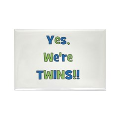 Yes, We're Twins! Blue & Gree Rectangle Magnet