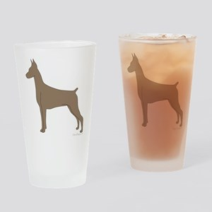 Fawn Doberman Silhouette Drinking Glass