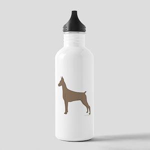 Fawn Doberman Silhouette Stainless Water Bottle 1.