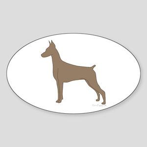 Fawn Doberman Silhouette Sticker (Oval)