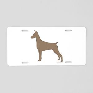 Fawn Doberman Silhouette Aluminum License Plate