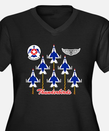 Thunderbirds Women's Plus Size V-Neck Dark T-Shirt