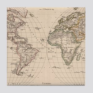 Vintage Map of The World (1827) 2 Tile Coaster