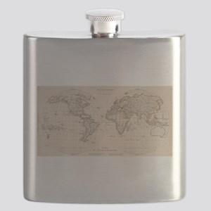 Vintage Map of The World (1827) 2 Flask
