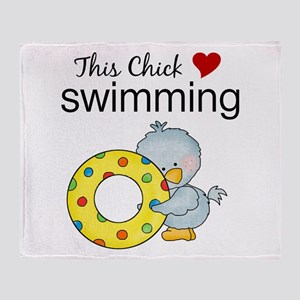 This Chick Loves Swimming Throw Blanket