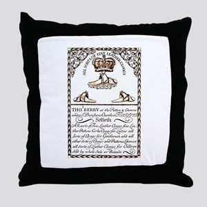 18th Century Shoe Ad Throw Pillow