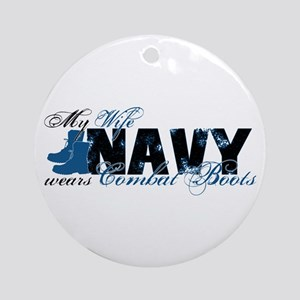 Wife Combat Boots - NAVY Ornament (Round)