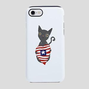 patriotic grey cat iPhone 7 Tough Case