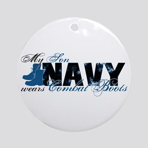 Son Combat Boots - NAVY Ornament (Round)