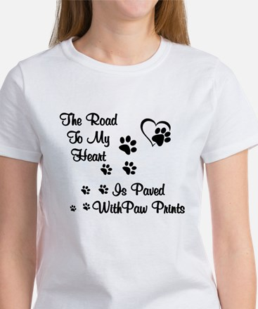 ROAD TO HEART, PAVED WITH PAW PRINTS T-Shirt