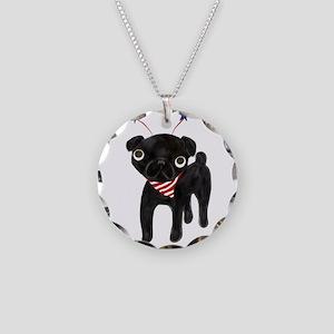 patriotic black pug Necklace Circle Charm