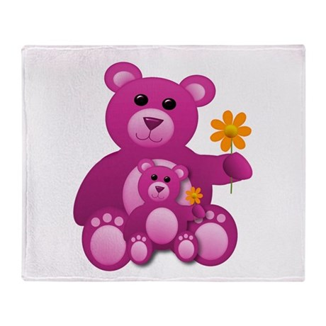 Pink Teddy Bears Throw Blanket
