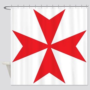 Red Maltese Cross Shower Curtain