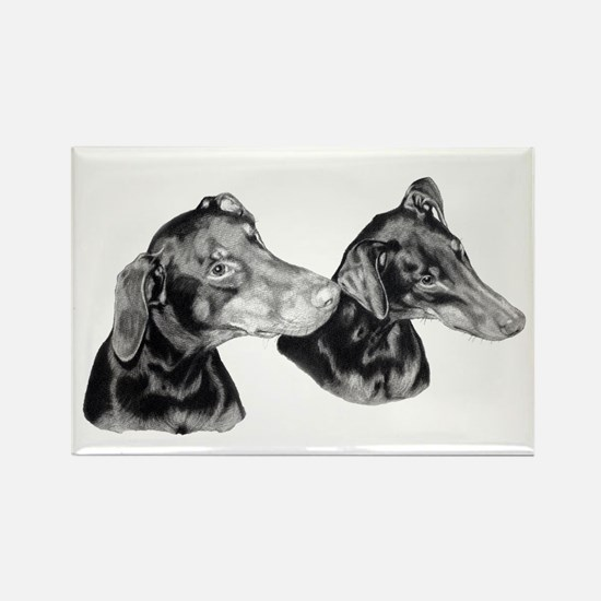 Dobies in pencil Rectangle Magnet
