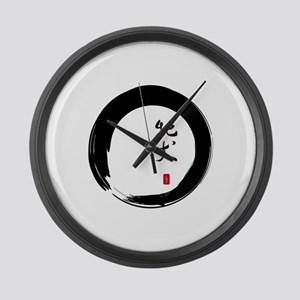 """Enso with Chinese for """"Bitch"""" Large Wall Clock"""