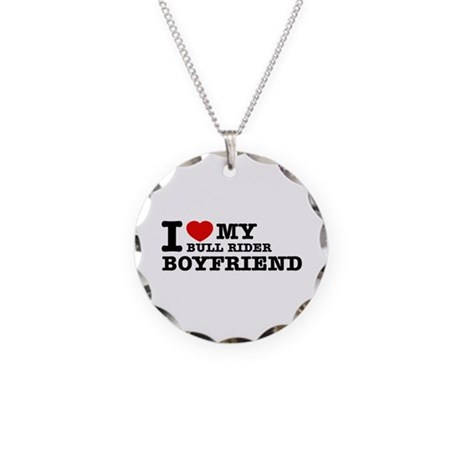 I love My Bull Rider Boyfriend Necklace Circle Cha