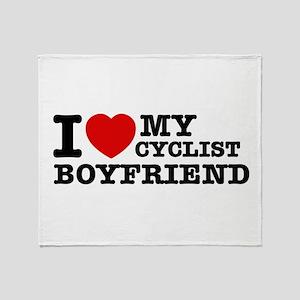 I love My Cyclist Boyfriend Throw Blanket