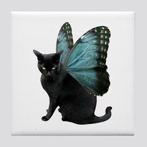 Butterfly Cat Tile Coaster