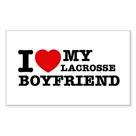 I love My Lacrosse Boyfriend Sticker (Rectangle)
