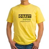Navy boyfriend Mens Classic Yellow T-Shirts