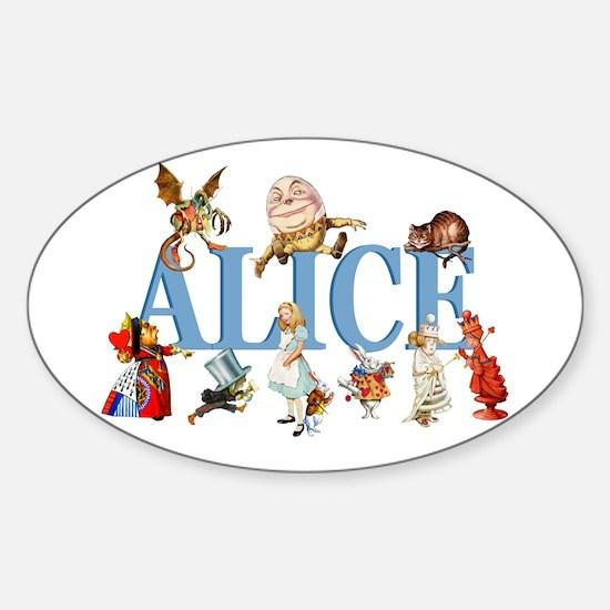 Alice & Friends in Wonderland Sticker (Oval)