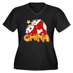 China Women's Plus Size V-Neck Dark T-Shirt