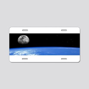 Moon over Earth Aluminum License Plate