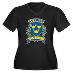 Swedish Women's Plus Size V-Neck Dark T-Shirt