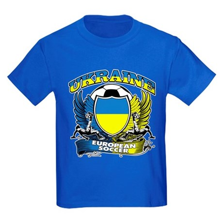 Ukraine Football Soccer Kids Dark T-Shirt