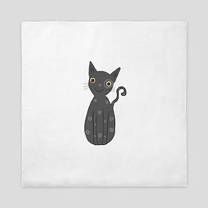 Grey kitty Queen Duvet