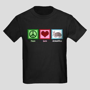 Peace Love Armadillos Kids Dark T-Shirt