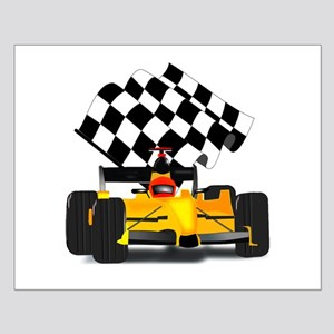 Yellow Race Car with Checkered Flag Small Poster