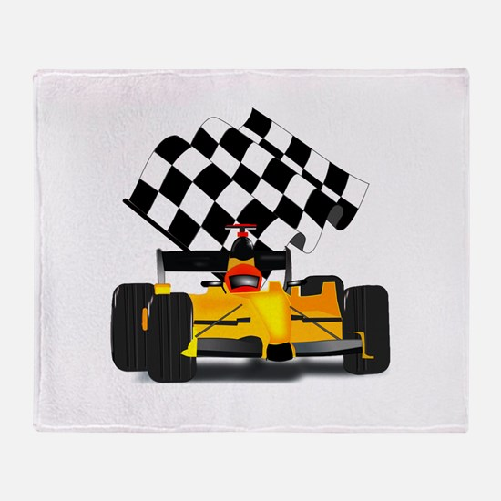 Yellow Race Car with Checkered Flag Stadium Blank