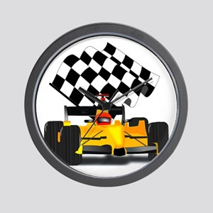 Yellow Race Car with Checkered Flag Wall Clock