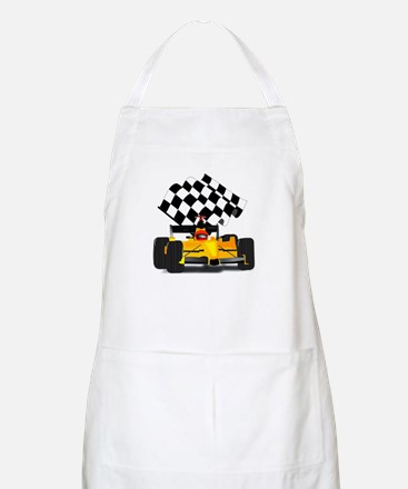 Yellow Race Car with Checkered Flag Apron