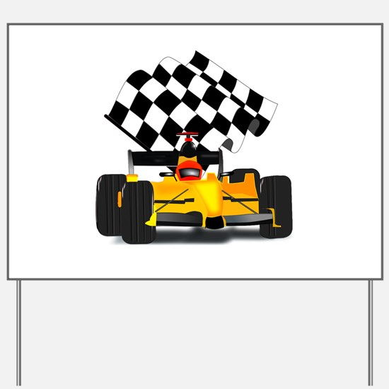 Yellow Race Car with Checkered Flag Yard Sign