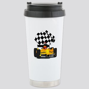 Yellow Race Car with Checkered Flag Stainless Stee