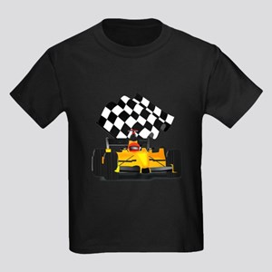Yellow Race Car with Checkered Flag Kids Dark T-Sh