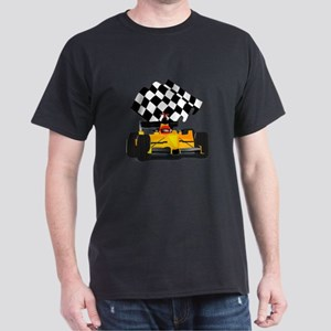 Yellow Race Car with Checkered Flag Dark T-Shirt