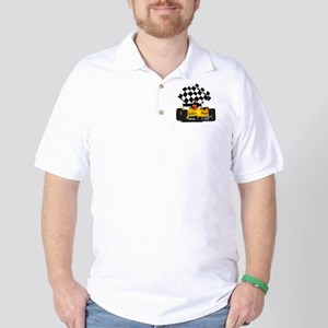 Yellow Race Car with Checkered Flag Golf Shirt