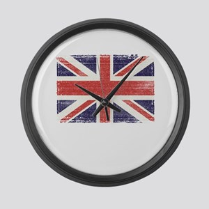 Great Britain flag vintage Large Wall Clock
