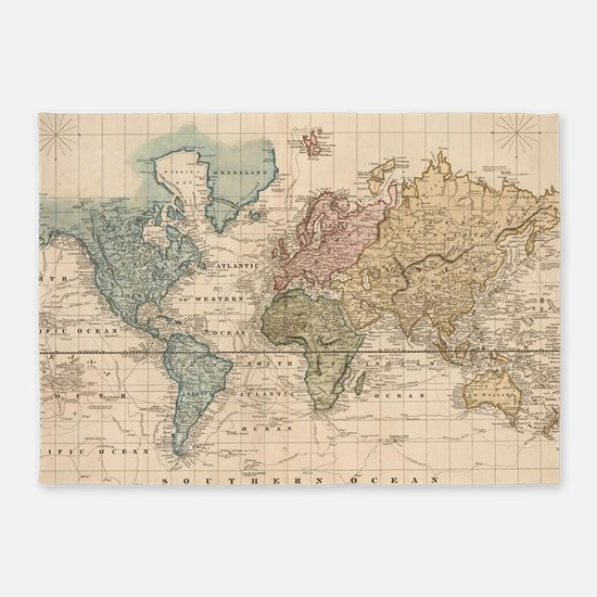 Vintage Map of The World (1823) 2 5'x7'Area Rug