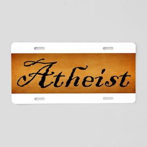 Vintage Atheist Autograph Aluminum License Plate