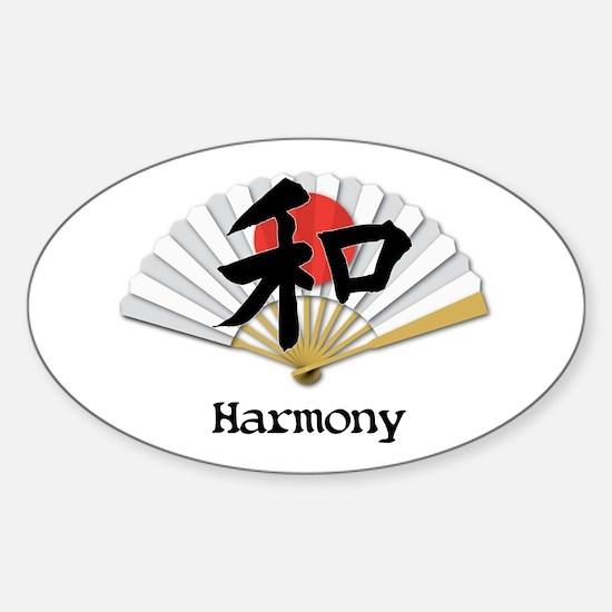 Harmony Geisha Fan Sticker (Oval)