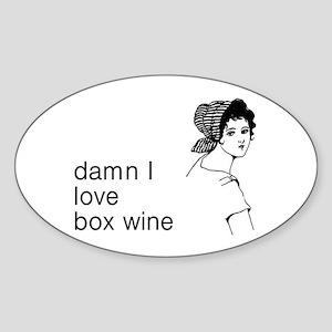 Damn I Love Box Wine Sticker (Oval)