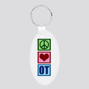 Peace Love OT Aluminum Oval Keychain
