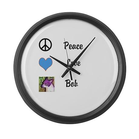 Peace love bob Large Wall Clock